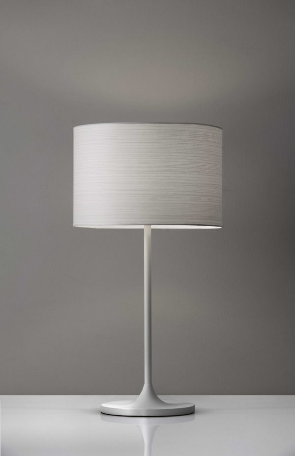"11.5"" X 11.5"" X 22.5"" White Metal Table Lamp"
