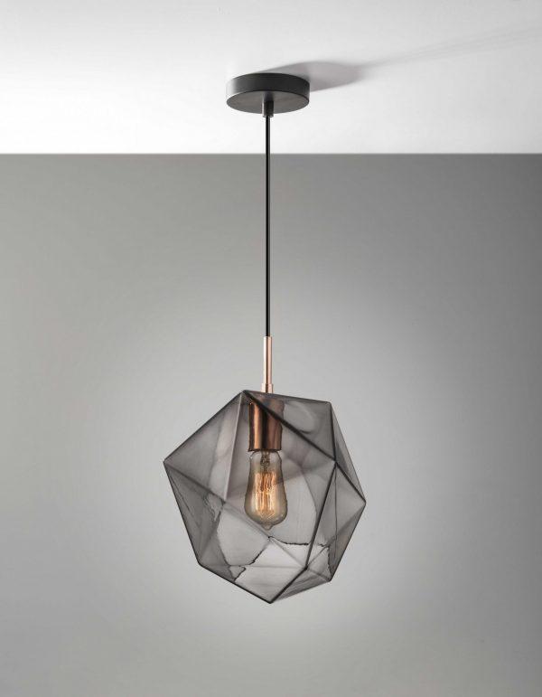 """9"""" X 9"""" X 12"""" Copper Glass Pendant"""