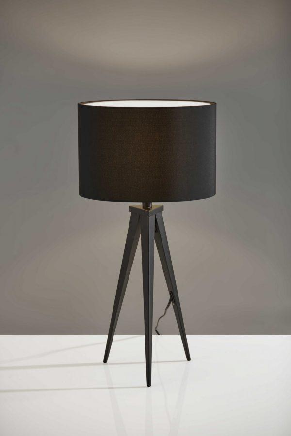 "14"" X 14"" X 28"" Black Metal Table Lamp"