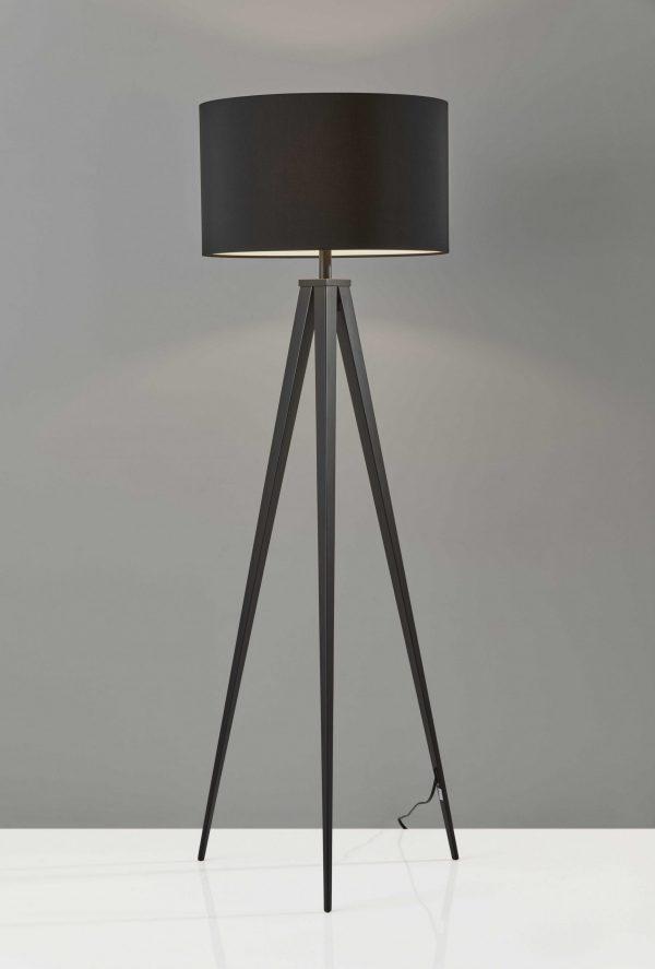 """21"""" X 21"""" X 61.5"""" Black Metal Floor Lamp"""