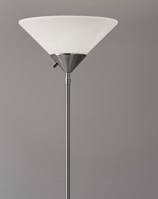 """14"""" X 14"""" X 73"""" Brushed steel Metal 300W Torchiere"""