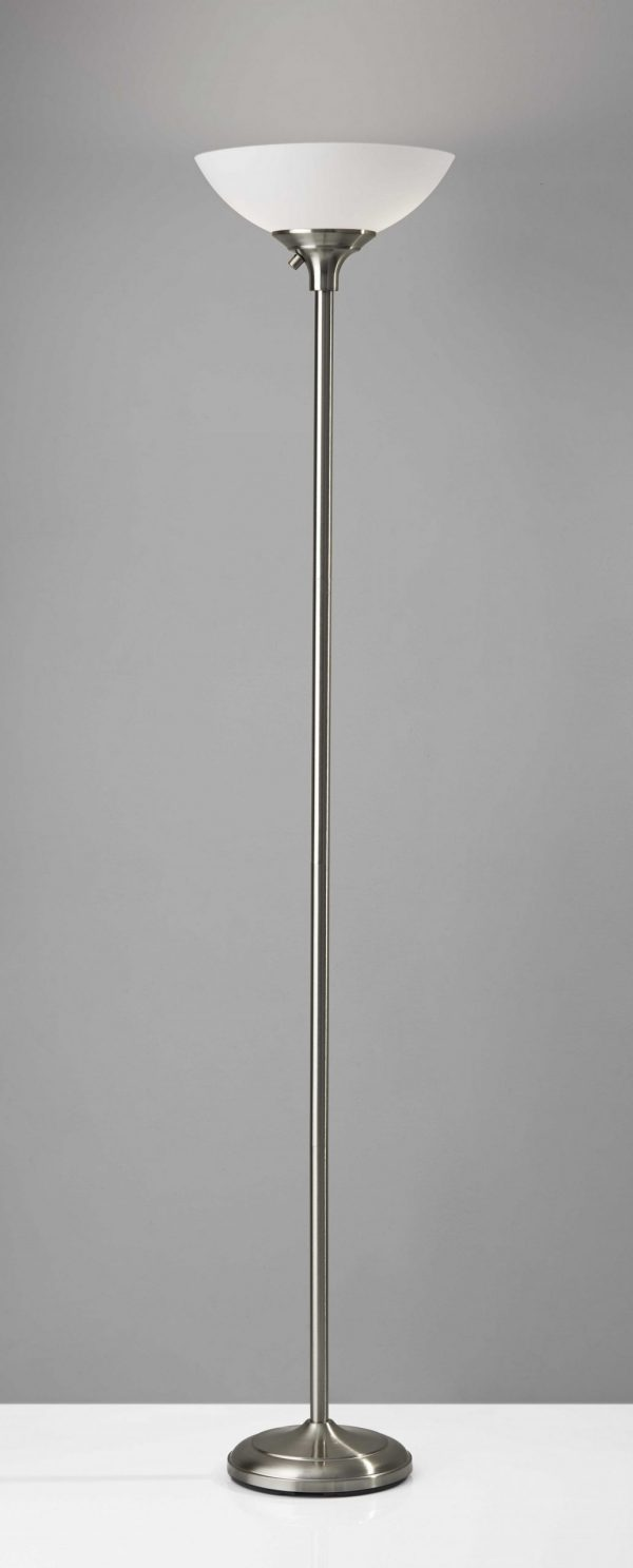 """13.75"""" X 13.75"""" X 71"""" Brushed steel Metal 300W Torchiere"""