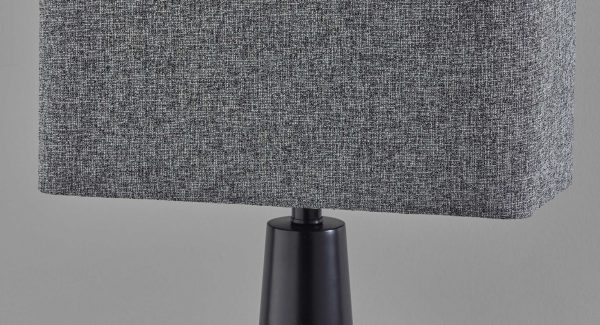 "16"" X 8"" X 25.5"" Black Metal Table Lamp"