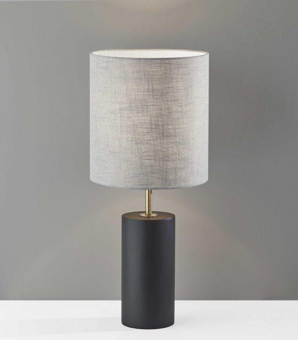 "13"" X 13"" X 30.5"" Black Wood Table Lamp"
