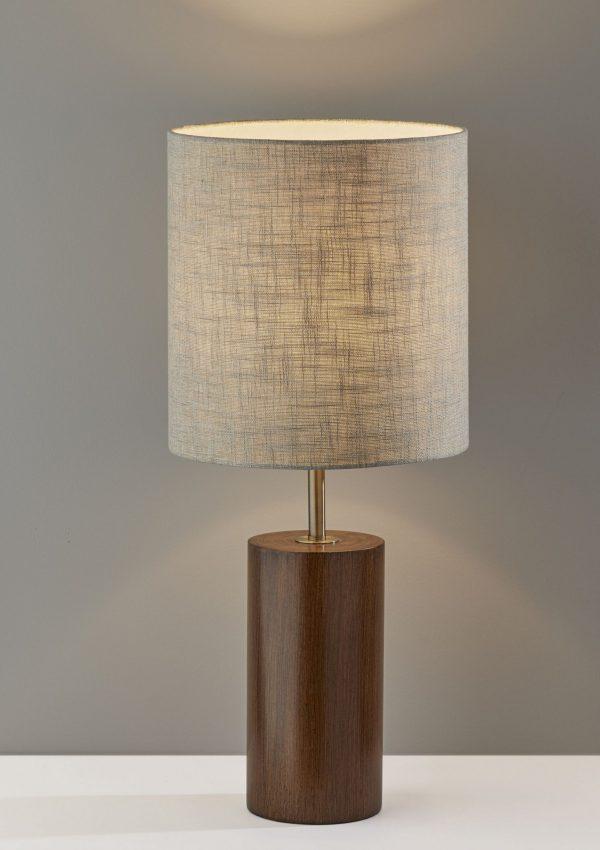 """13"""" X 13"""" X 30.5"""" Walnut Wood Table Lamp"""