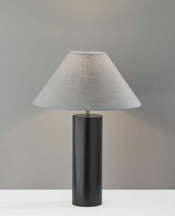 "18"" X 18"" X 25.5"" Black Wood Table Lamp"