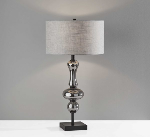 "15"" X 15"" X 28.75"" Black Glass Table Lamp"