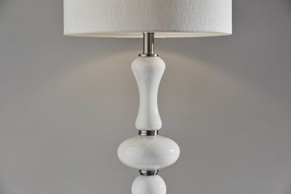 """15"""" X 15"""" X 28.75"""" Brushed steel Glass Table Lamp"""