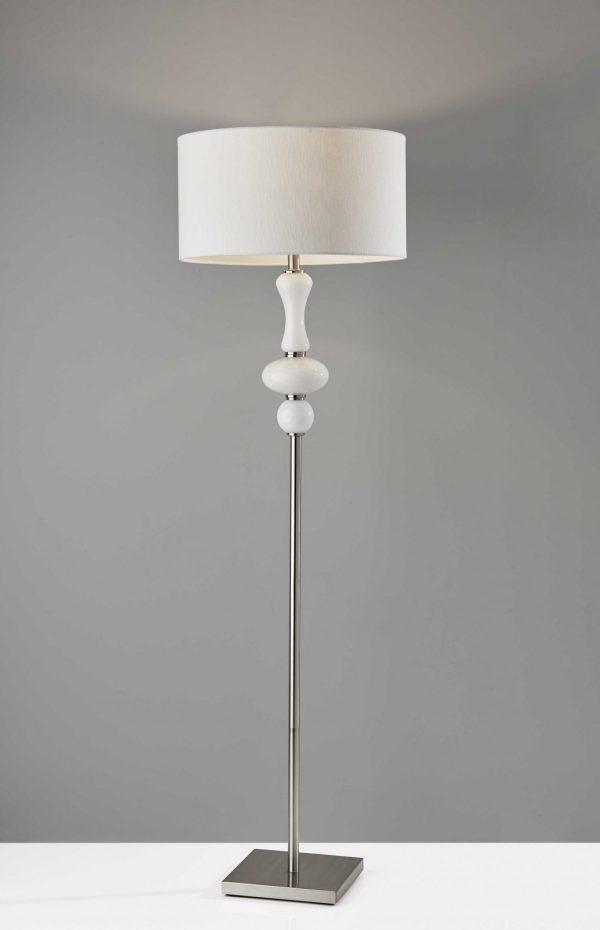 "19"" X 19"" X 65.5"" Brushed steel Metal  Floor Lamp"