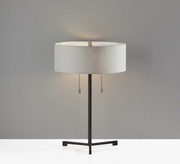 "15"" X 15"" X 22.25"" Black Metal Table Lamp"