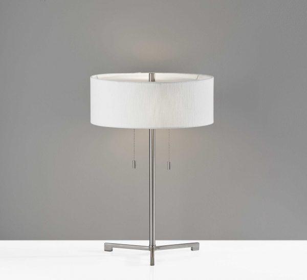 "15"" X 15"" X 22.25"" Brushed steel Metal Table Lamp"