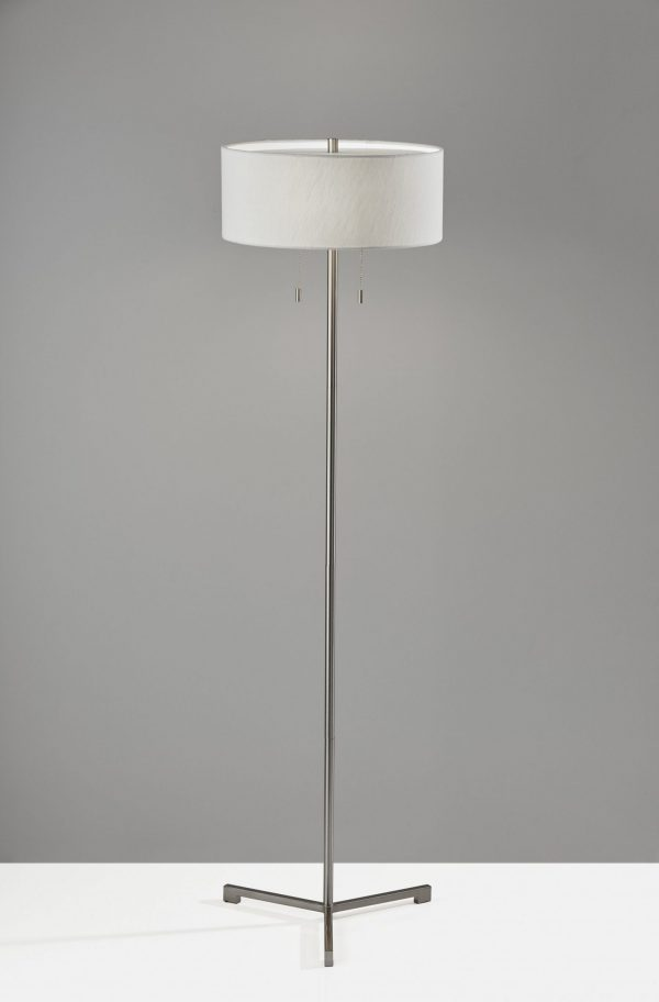 "16"" X 16"" X 60"" Brushed steel Metal Floor Lamp"