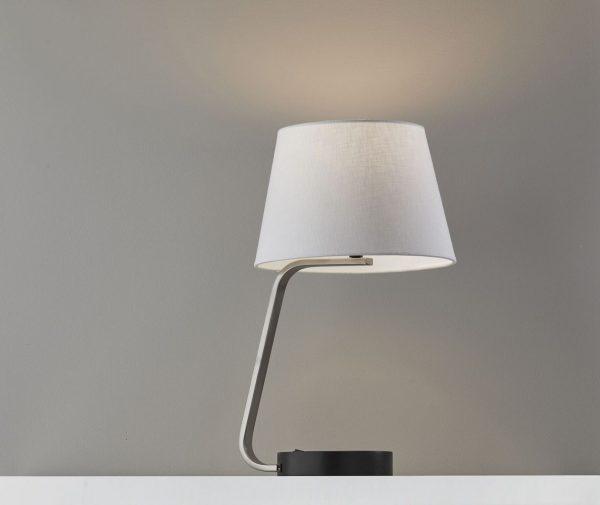 "11"" X 12"" X 19"" Brushed steel Metal Table Lamp"