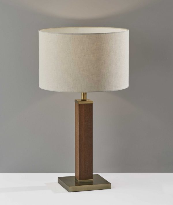 """15.5"""" X 15.5"""" X 27.75"""" Antique Brass  Wood Table Lamp"""