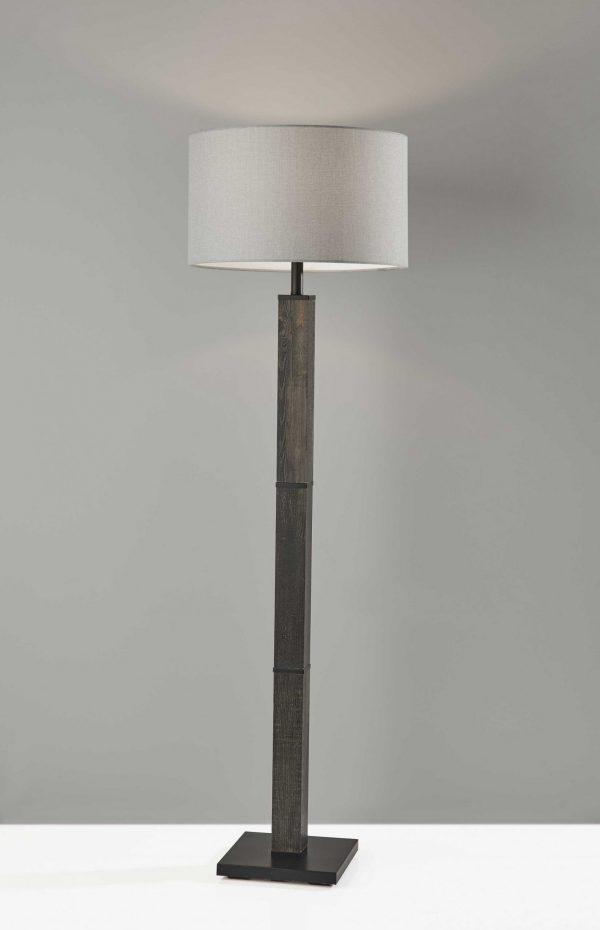 "18"" X 18"" X 61.5"" Black Wood Floor Lamp"