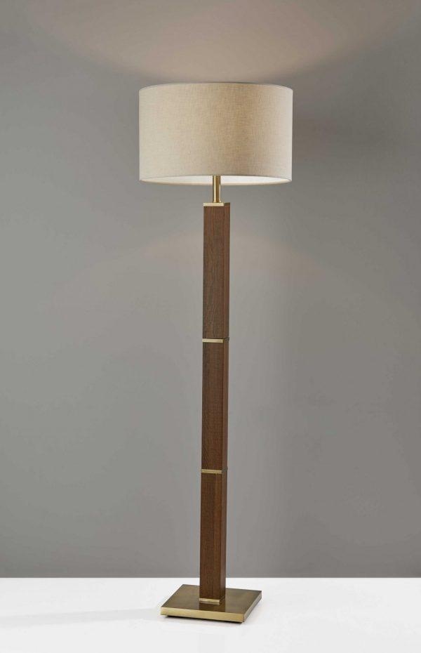 """18"""" X 18"""" X 61.5"""" Antique Brass  Wood Floor Lamp"""