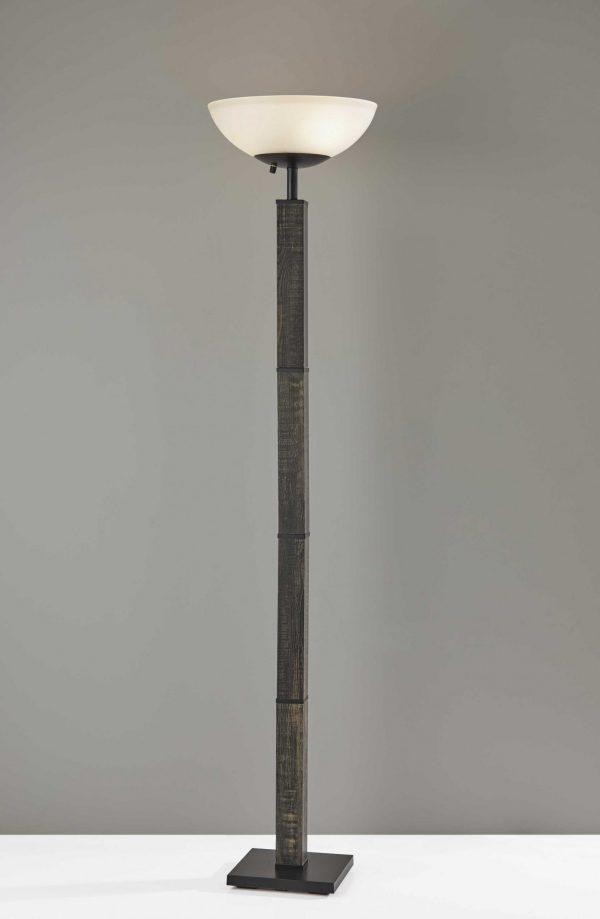 """16"""" X 16"""" X 72.5"""" Black Wood 300 Watt Torchiere"""