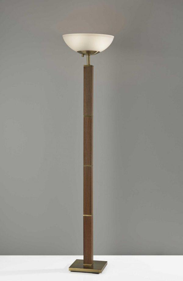 "16"" X 16"" X 72.5"" Antique Brass  Wood 300 Watt Torchiere"