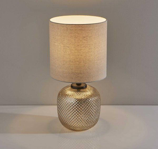 "11"" X 11"" X 21.25"" Bronze Metal Table Lamp w. Night Light"