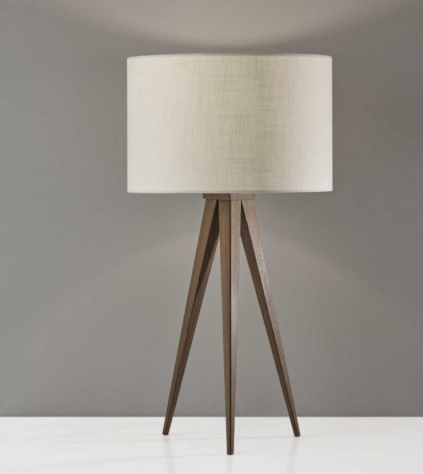 """13.75"""" X 9.5"""" X 26.25"""" Walnut Metal Table Lamp"""