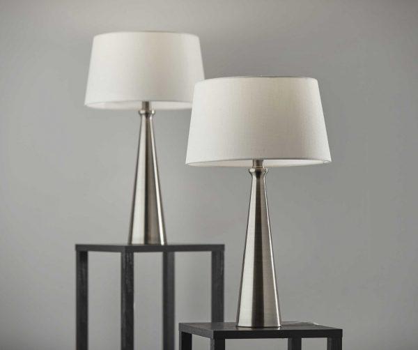 "13"" X 13"" X 22"" Brushed Steel Metal 2 Pc. Table Lamp Bonus Pack"