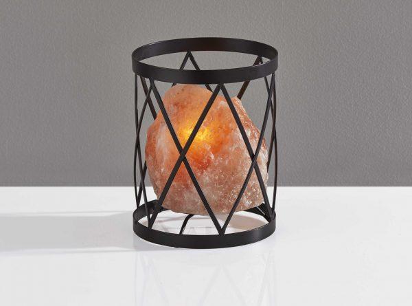 """6"""" X 6"""" X 7.5"""" Black Metal Himalayan Salt Table Lamp"""