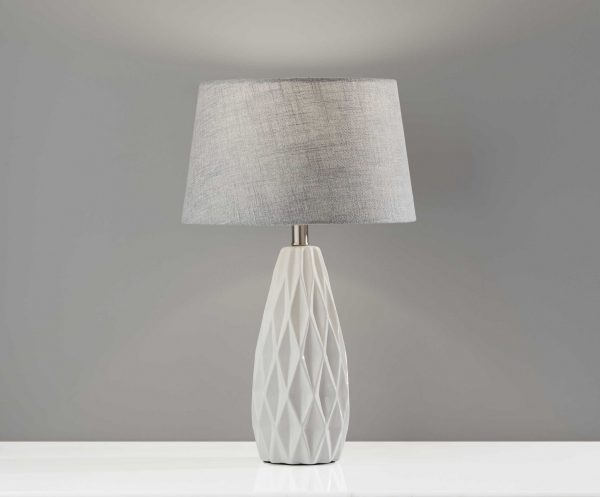 """13.75"""" X 13.75"""" X 22.5"""" White Ceramic 2 Pc. Table Lamp Bonus Pack"""