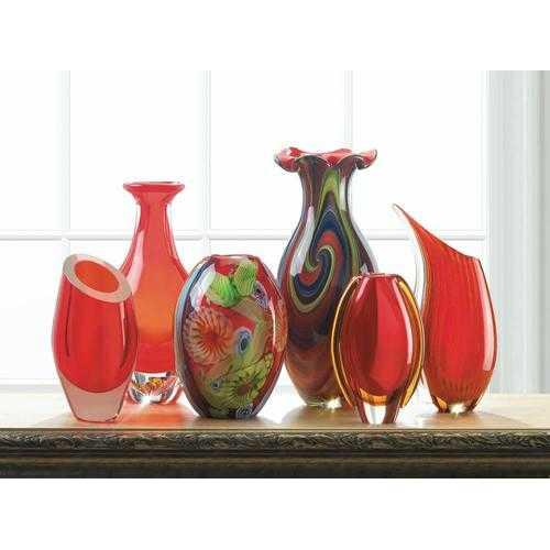 Red Art Glass Bottleneck Vase