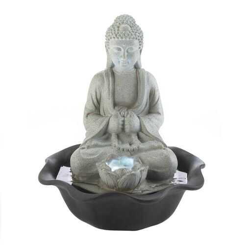 Buddha On Lotus Tabletop Fountain