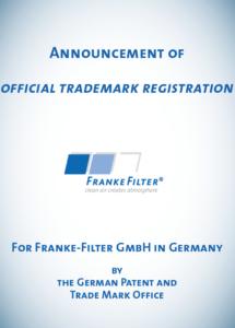 Announcement of trademark registration FRANKE-Filter GmbH