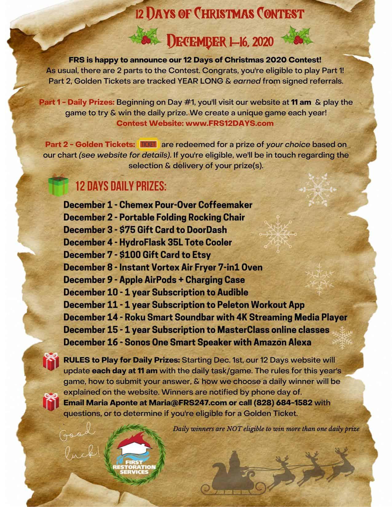 2020 12 days of christmas scroll