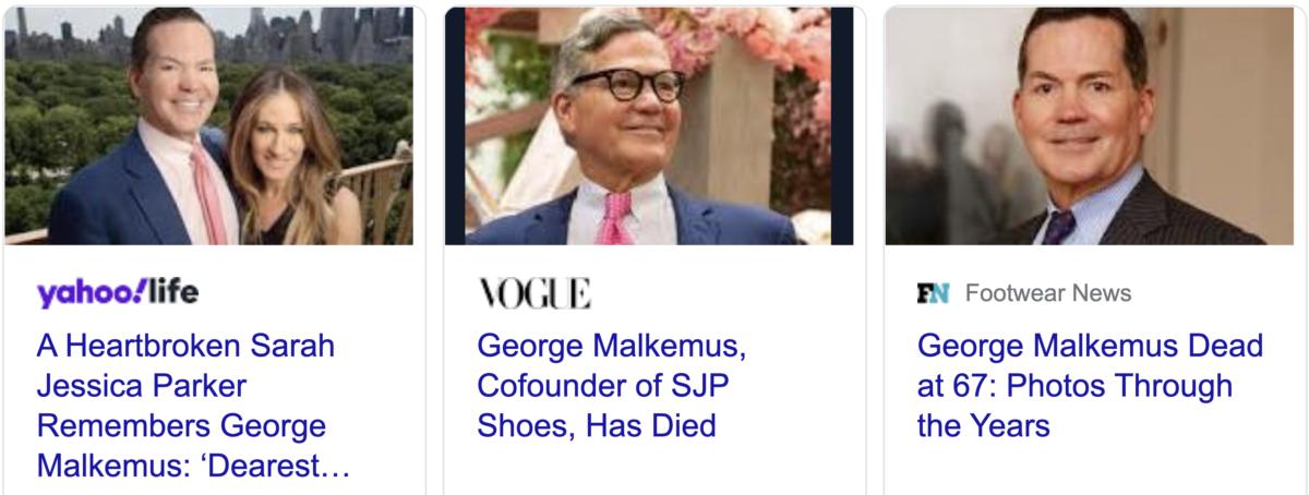 George Malkemus, Sarah Jessica Parker's friend, dead at 67, September 16, 2021