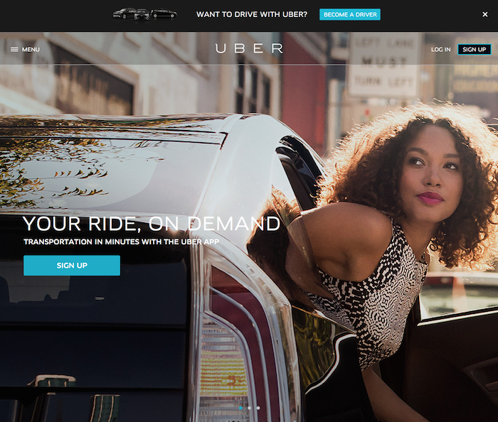 Screenshot of Uber Sign up
