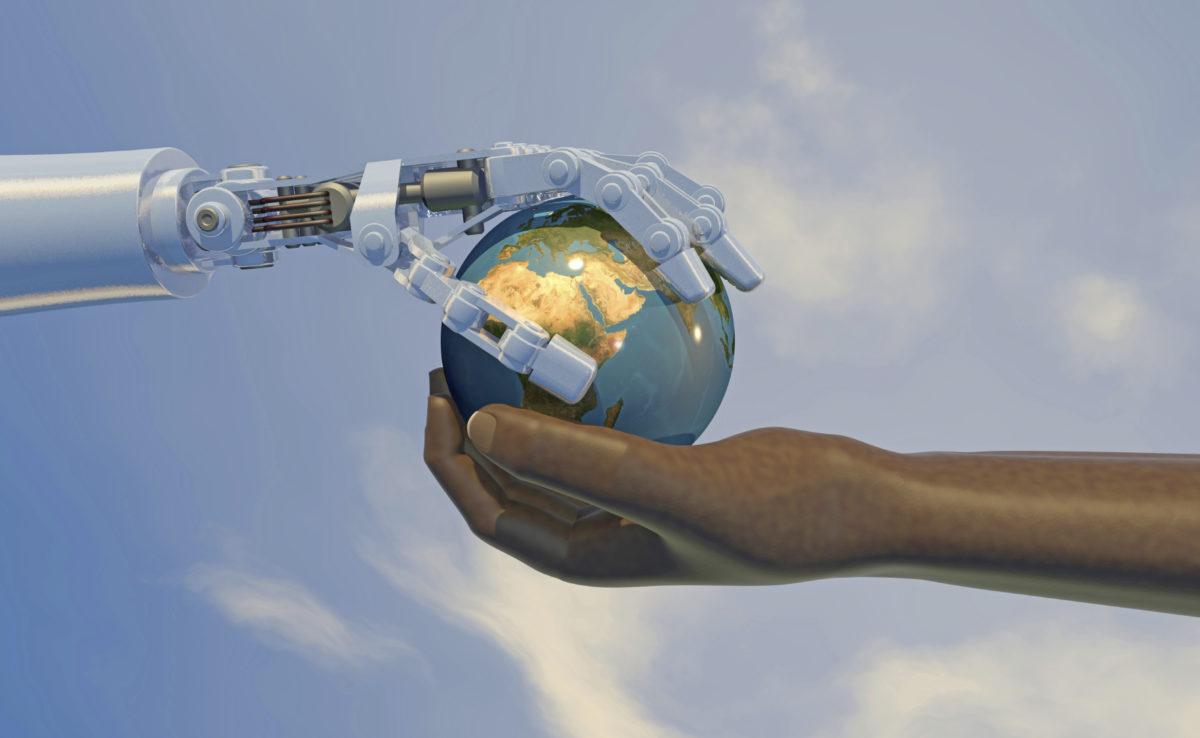 Robot handing a human the globe