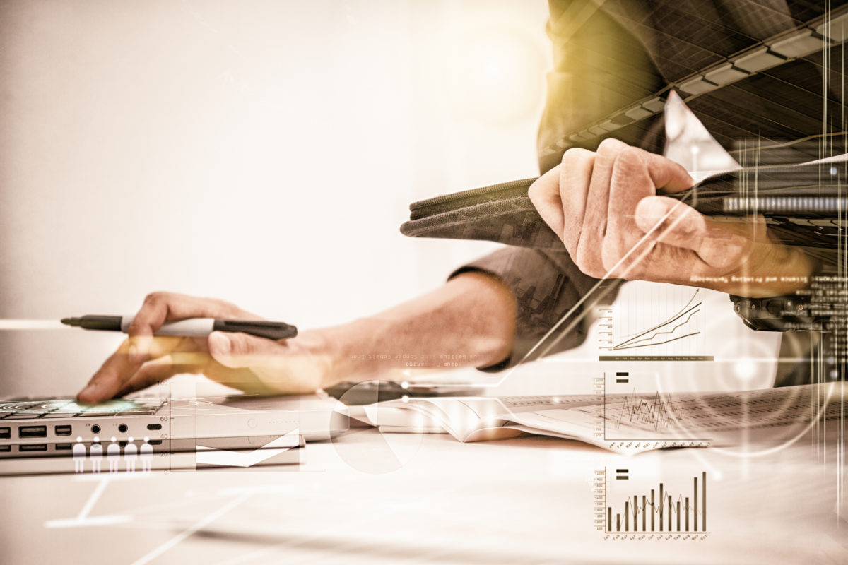 Business Woman Prepare Documents And Graph Business Diagram And