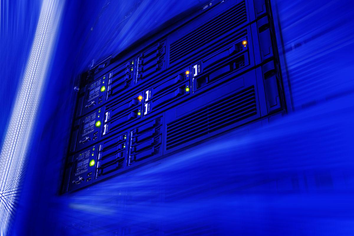 data warehouse data center in futuristic blur