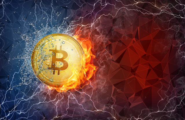 Golden bitcoin coin flying in fire flame, water splashes and lig