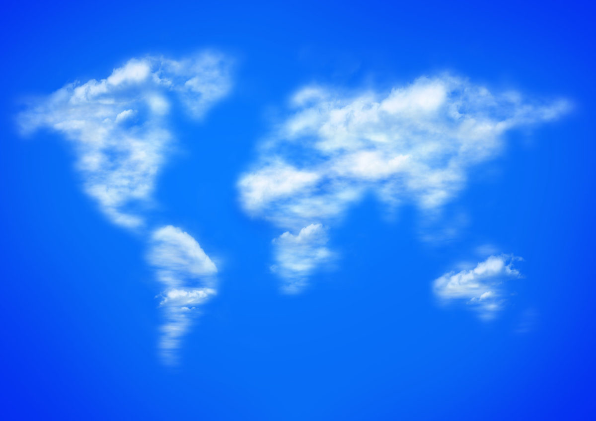 blue sky and clouds as worlwide map