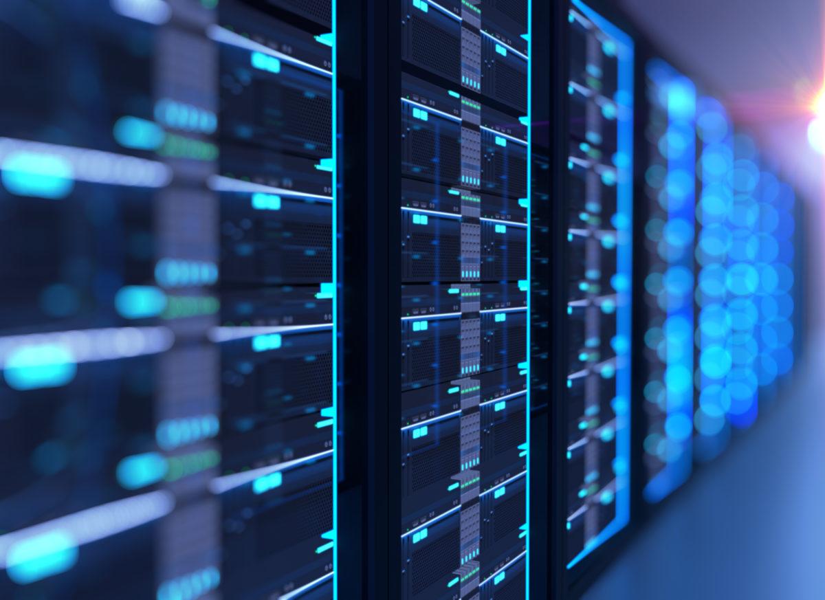 Corridor Of  Server Room With Server Racks In Datacenter. 3D Ill