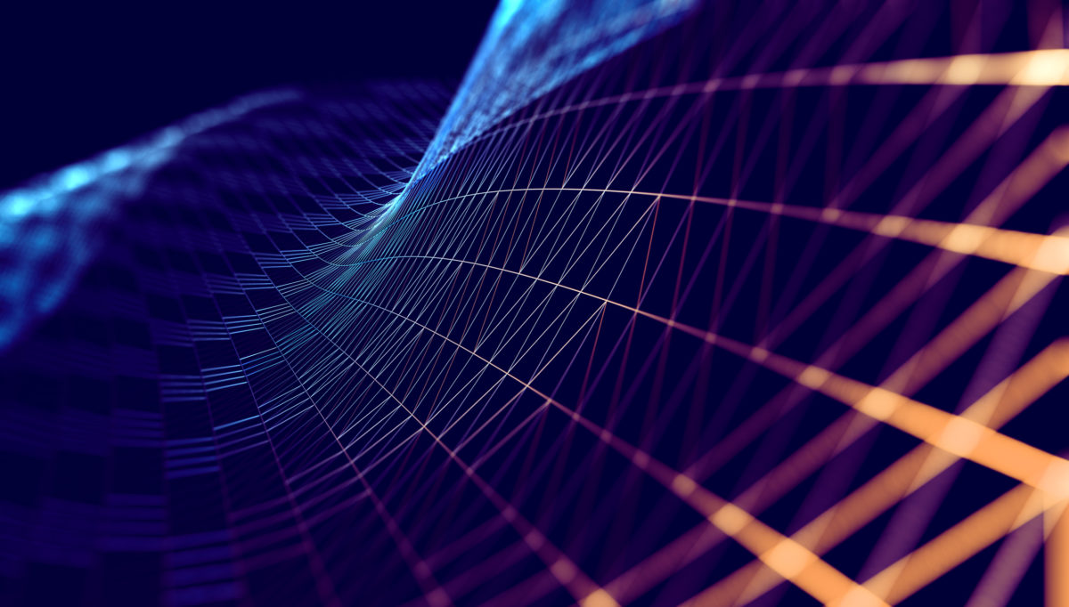Mesh or net with lines and geometrics shapes detail.3d illustration