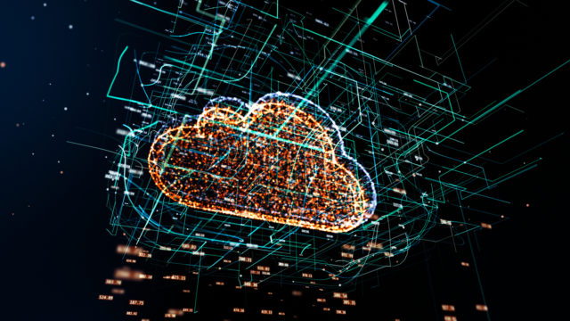 Cloud technology abstract 3D information technology illustration