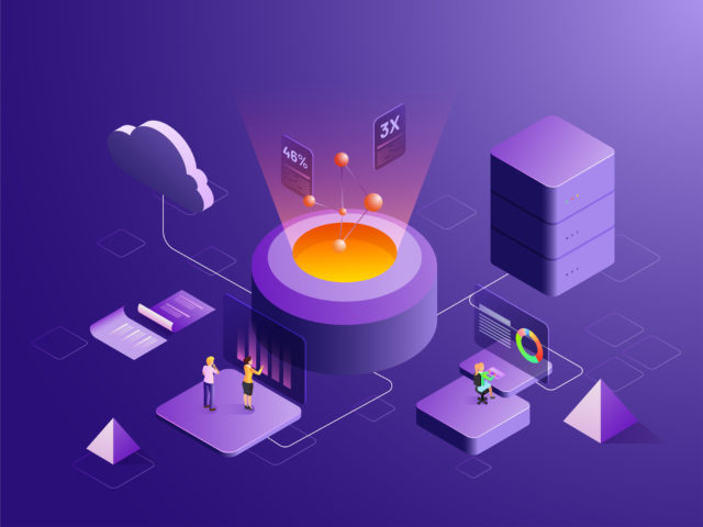 Big data storage or data analysis concept based isometric design with 3D illustration of business analytics analysis data, cloud server connected to big data server. Can be used as web template.