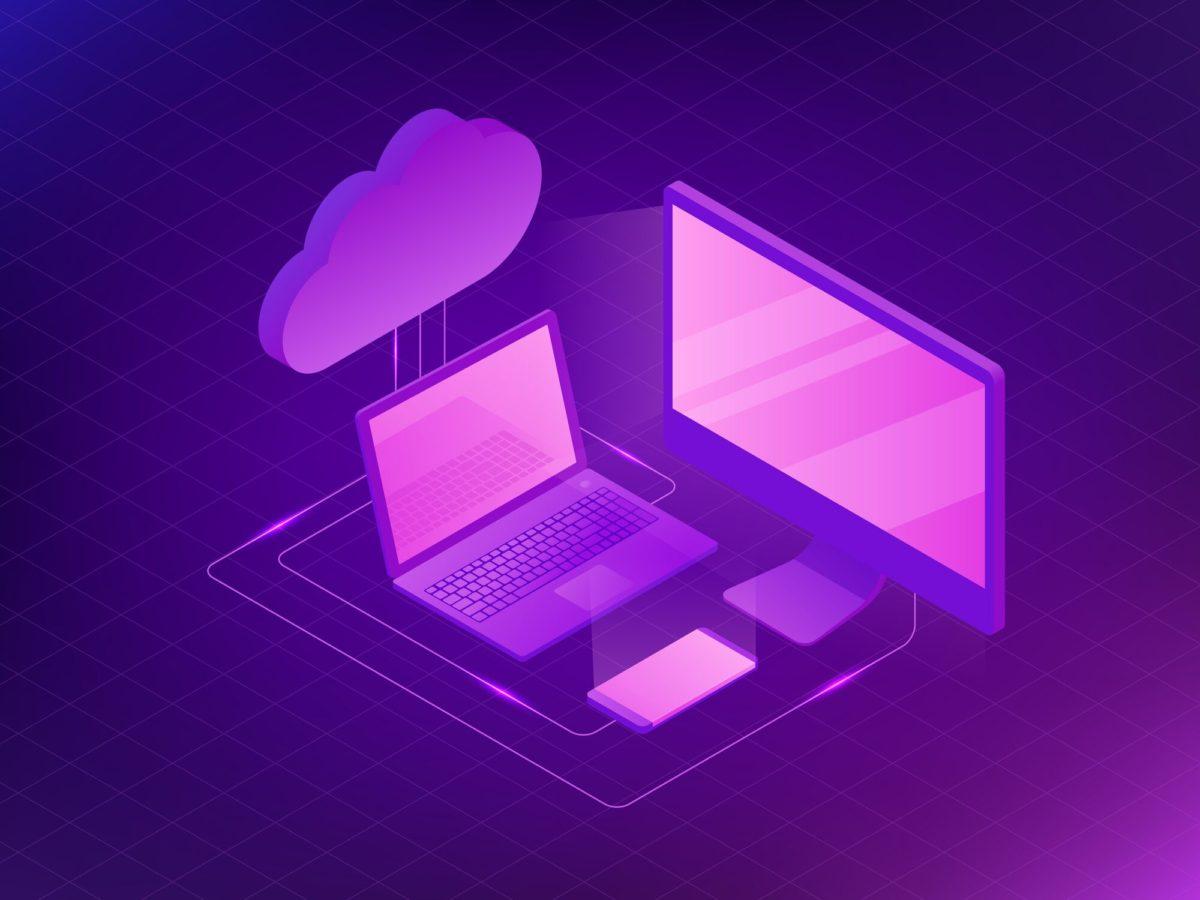 purple cloud and screens