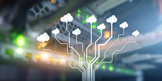 Cloud Information Computing Technology concept. Conceptual banner on server rack background.