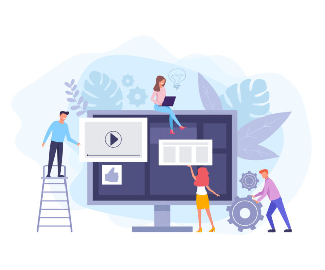 Internet online teamwork. Vector flat cartoon graphic design banner poster illustration