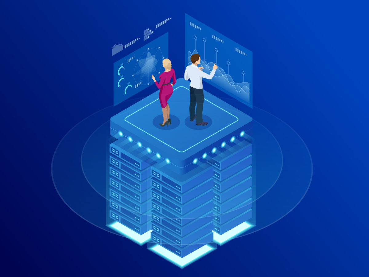 Isometric web banner Data analytics platform and Statistics. Vector illustration hosting server or data center room. Technology, Internet and network concept. Data and investments.