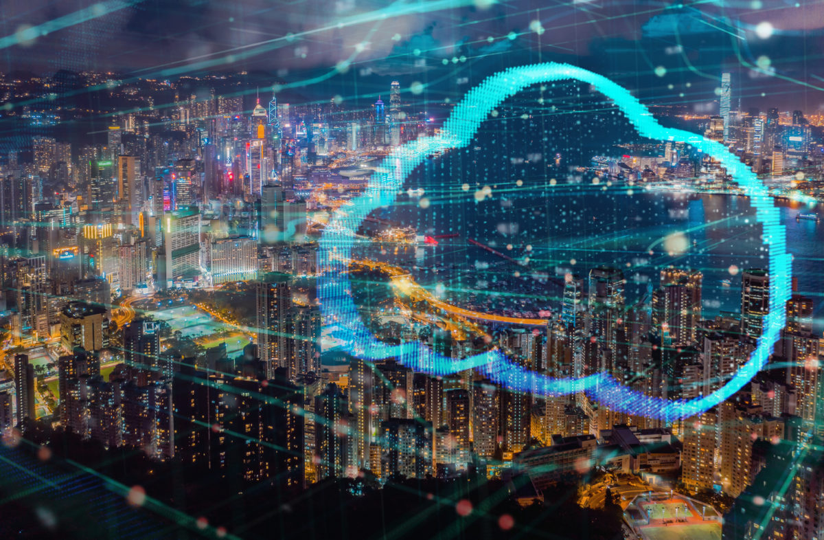 Clouds computing technology futuristic design double exposure with Hong Kong city