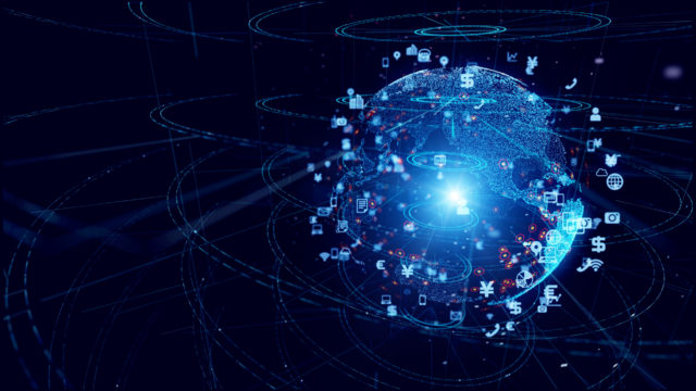 Global communication network concept. Planet earth in cyberspace.