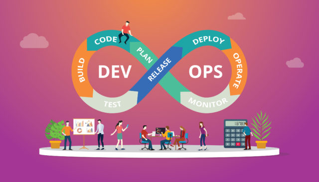 Programmers at work concept using devops software development practices – vector
