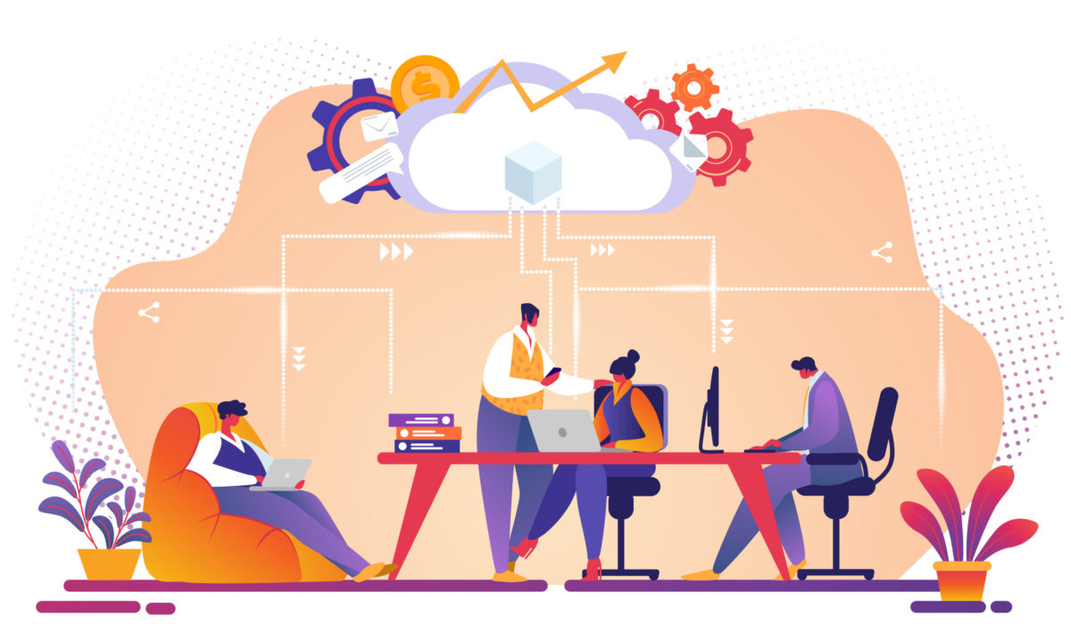 Business Team Working Together Using Cloud Service